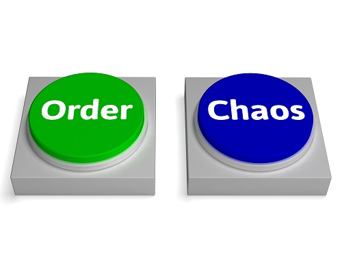 Order Chaos Buttons Showing Orderly Or Messy