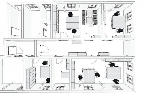 technische Zeichnung für mehrere Büroräume - Büro planen mit pcon planner - professionelle Büroeinrichtung