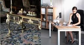 Arbeitsplatz Schreibtisch gestern & heute
