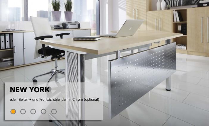 Serie new york chrom schreibtisch system mit glanzoptik for Schreibtisch york