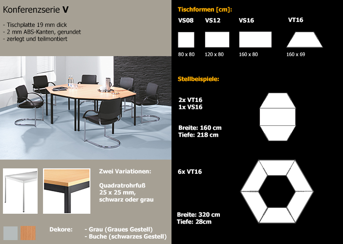 konferenztisch besprechungstisch g nstig moebelshop24. Black Bedroom Furniture Sets. Home Design Ideas