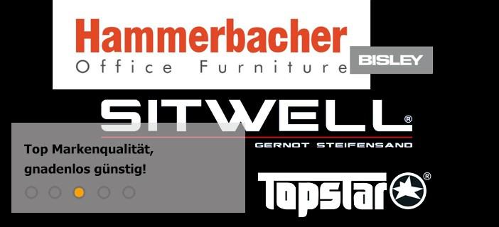 Marken Büromöbel von Hammerbacher, Sitwell, Topstar & Bisley